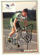 Cartolina Ciclismo - Team Gatorade - Dirk De Wolf - Stagione 1993 Autografo