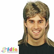 BROWN MULLET PAT SHARPE 80'S WIG WITH HIGHLIGHTS - mens fancy dress costume