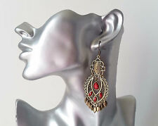 Pretty long  gold tone and red bead filigree drop earrings NEW  (23763)