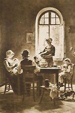 La Famille Heureuse Déjeuner en Famille Enfants Tirage en Sépia vers 1914