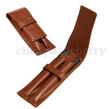2 Pen Case Crazy Horse Fountain Pen Roller Pen Genuine Leather Pouch/Case Brown