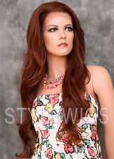 Red Auburn Mix Extra Long Wavy Heat OK Synthetic Lace Front Wig Kim SAKI 33/130