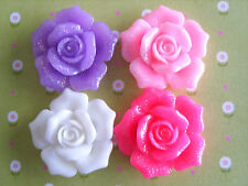 4 x GLITTER SHIMMER ROSE FLOWER FLAT BACK RESIN CABOCHONS CRAFTS 26mm *UK*