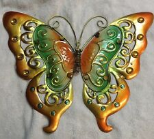 """Green Large Metal & Glass Butterfly Wall Art Indoor/Outdoor Hanging Decor 16"""""""