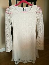 H&M WHITE LACE DRESS SIZE 2  XS New Bell Sleeve High Low Front