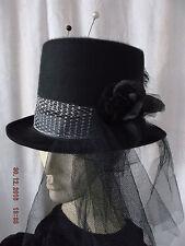 Top Hat Topper Vintage Hat Pins Black White Burlesque Victorian Steampunk Unique