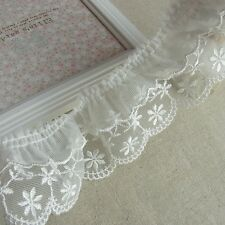 Vintage Style Embriedered Ruffle Tulle Lace Trim Double Crease 5.5cm Wide White