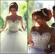 Hot New Bling Bling Gorgeous Princess Wedding Dress Bridal Ball Gown Size4 - 16W