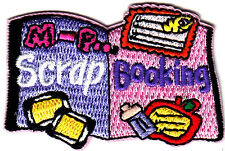 """SCRAP BOOKING""-Iron On Embroidered Applique Patch/Hobby, Craft, Words,"