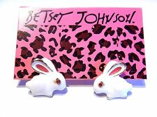 BETSEY JOHNSON WHITE RABBIT EARRINGS Alice in Wonderland Easter animal stud V2