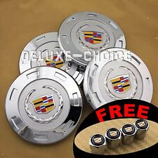 4 CHROME FINISH COLOR LOGO WHEEL CAP HUB CENTER for CADILLAC ESCALADE US SELLER