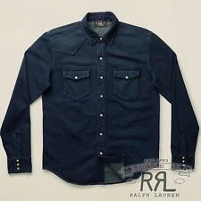 $295 RRL Ralph Lauren DARK BLUE INDIGO COTTON TERRY WESTERN SHIRT-MEN- L