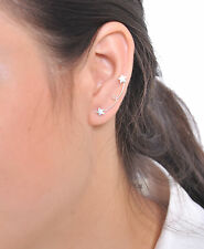 STERLING SILVER 925 EAR CRAWLER EARRINGS STAR EAR CLIMBER SWEEP UP A2941