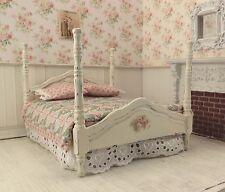 Dollhouse Miniature Shabby Chic Dressed 4 Poster Bed Pink Green Patchwork Quilt