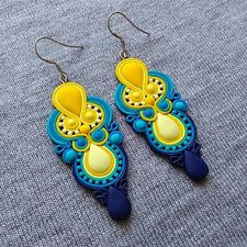 colorful handmade summer outfit yellow navy blue big color block long earrings