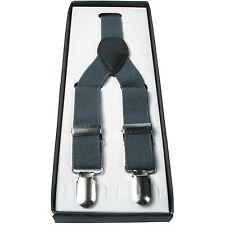 Herren Grau 2.5cm Elastisch Einfarbig Hosenträger Verstellbar Strapse 3 Klemme