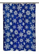 "Carnation Home Snow Flakes Fabric Shower Curtain, 100% polyester, 70"" x 72"" New"