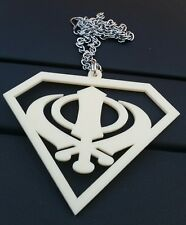 Superman Logo Cream Acrylic Khanda Punjabi Sikh Pendant Car Mirror Hanging Chain