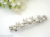 Bridal Barrette Hair Clip Grip Butterfly crystal & pearl design in silver tone