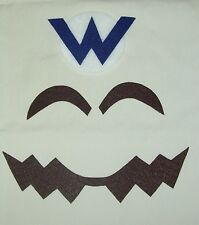 "Super WARIO Costume Face Pieces & Letter ""W"" Emblem for Hat"
