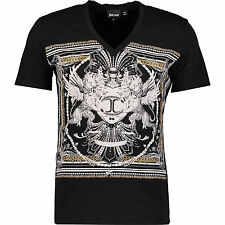 Just Cavalli Black Studded T-shirt M 100% cotton