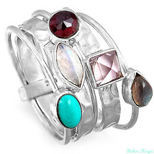 Stacking Sterling Silver Ring 925 Solid Turquoise Amethyst Gemstone Genuine Band