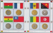 UNO Genf Kleinbogen 565-72 (Flaggen und Münzen) ** (K-542)