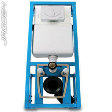 Wall Hung Concealed WC Toilet Frame & Dual Flush Cistern Height Adjustable Blue