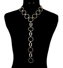 Gold Bling RHINESTONE Y-LINE CIRCLE Link CHAIN Statement Necklace & Earrings SET