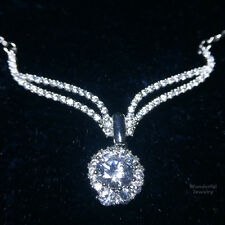 "Gorgeous 4.46Ct Lab Diamond Angel's Wing Pendant Choker Necklace 16""  18K A101"