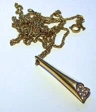 Vintage Crown Trifari Necklace With Abstract Pendant With Rhinestone Heart