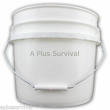 5 Gallon White Food Grade Storage Bucket - No Lid - Survival Rations Rice Beans