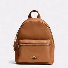 NWT Coach F38263 Mini Charlie Backpack in Pebble Leather Saddle Brown