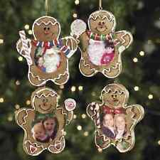 Gingerbread Man Photo Frame Ornaments 4 Pc Christmas (4/2591)