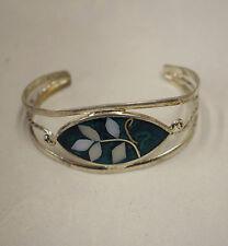 Silver Wrist Cuff Shell Mother Pearl Flowers Enamel Bracelet