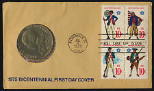 USA 1568a + Medal on FDC - Military Uniforms, US Bicentennial, Flags, Ship