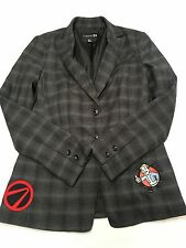 Womens FOREVER 21 Gray Plaid Button Patched Blazer Jacket Sz S