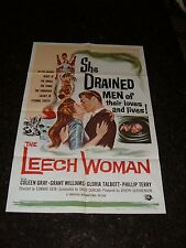 "THE LEECH WOMAN Original Movie Poster, 27"" x 41"", C8.5 Very Fine to Near Mint"