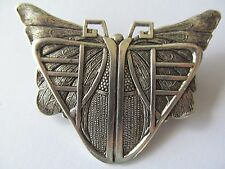 Large Art Deco Egyptian Antique Silver Butterfly Scarab Designed Brooch Pin