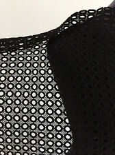Jet Black Medium Weight Circles Non Stretch Cotton Lace  Dressmaking Fabric