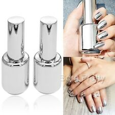 2Pcs 15ML Silver Nail Polish Metallic Mirror Effect Metal Silver & 15MLTop Coat