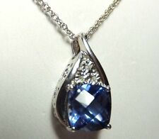 Sterling Silver Created Ceylon Sapphire & Genuine Diamond Pendant Necklace