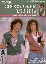Leisure Arts 455 Cross Over Vests Knit Crochet Patterns Women Shawl Collar 1986