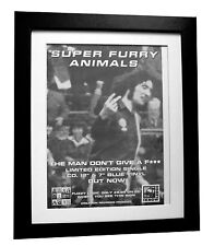 SUPER FURRY ANIMALS+Man Don't Give A+POSTER+AD+ORIG 1996+FRAMED+FAST GLOBAL SHIP