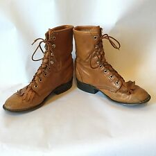 Laredo Vintage Granny Women's Tan Lace Up Leather Roper Boot Size 5.5