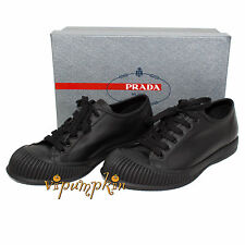 PRADA CALF PLUME LEATHER BLACK LACE UP SNEAKERS SHOES 4E2703 NEW 6 UK 7 US