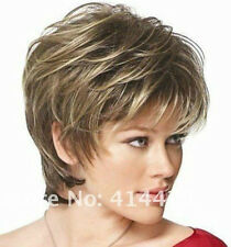 Women Wigs Short Curly Brown Mixed Color Lady Hair Wigs