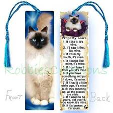 Ragdoll CAT Large BOOKMARK w/TASSEL RULES Attitude Laws Art Book Big CARD Birman