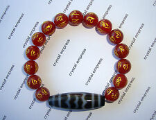 Feng Shui - Garuda Bird Dzi with 8mm Red Agate Mantra