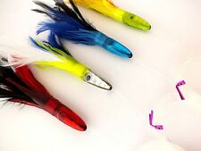 """CHOMP LURES RESIN HEAD 6"""" SKIRTED FEATHER FLASHER TROLLING LURES 4 PACK"""